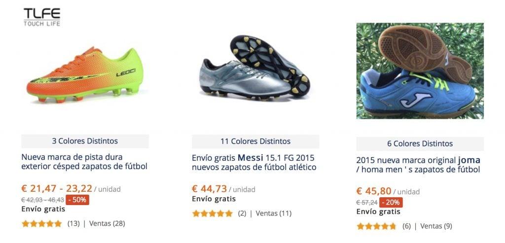 botas de futbol baratas en aliexpress de marca (nike, adidas, puma, joma, munich)