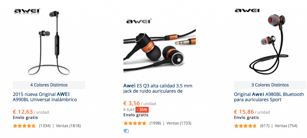 auriculares wireless awei baratos en AliExpress