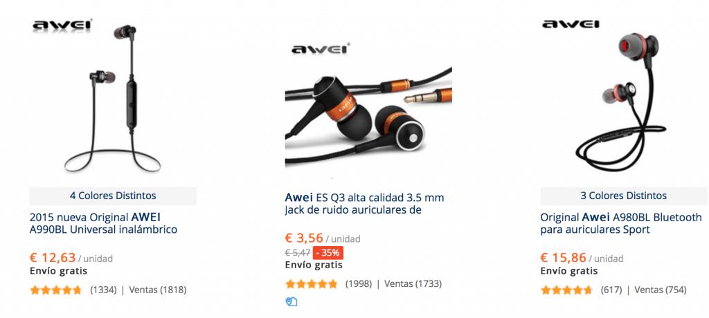 auriculares wireless awei baratos en AliExpress