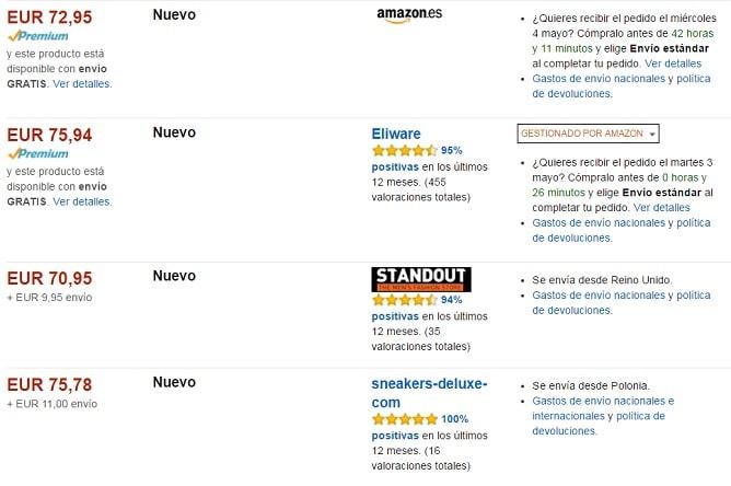 Listado de tiendas de Amazon