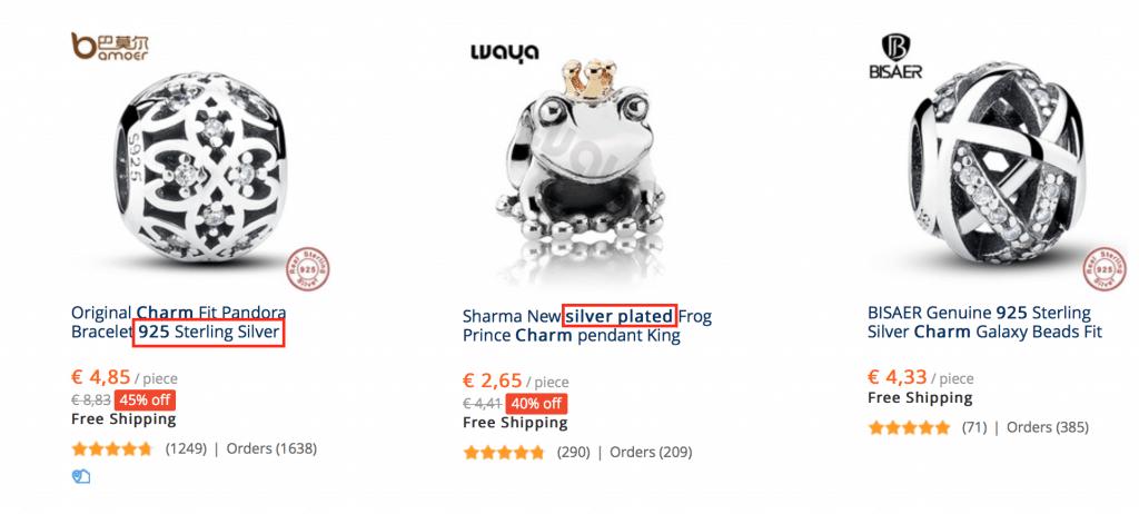 pandora aliexpress barata plata maciza y bañado en plata