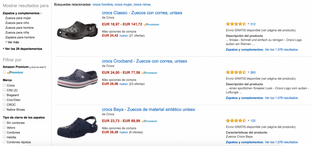 zuecos crocs band en amazon muy baratos