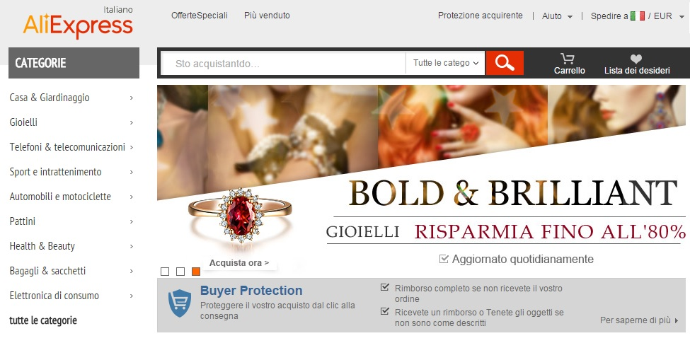 Versione in italiano di AliExpress