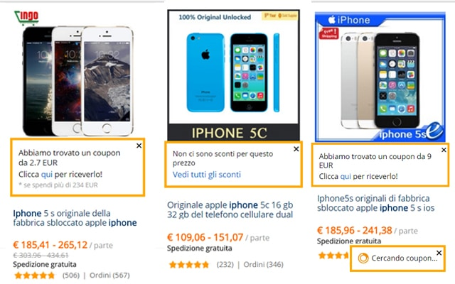 AliExpress coupon su una ricerca di iPhone