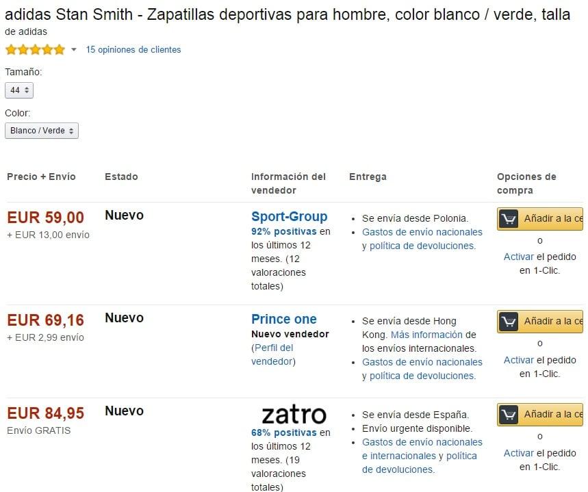 Vendedores baratos de Amazon