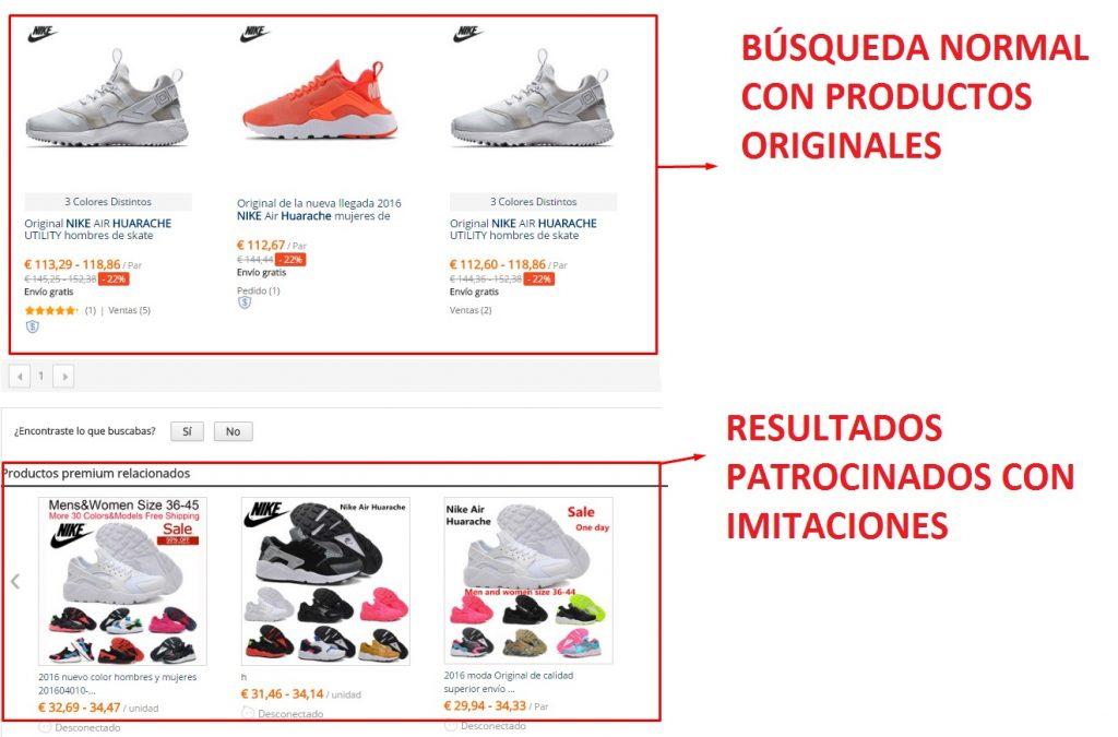 Zapatillas falsas y originales en los resultados de búsqueda