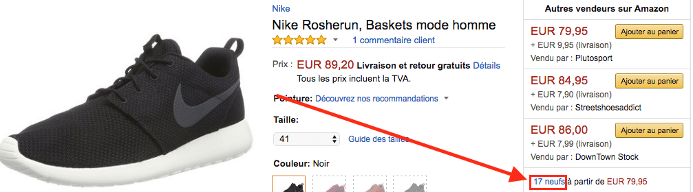 Amazon Nike Roshe neuf FR