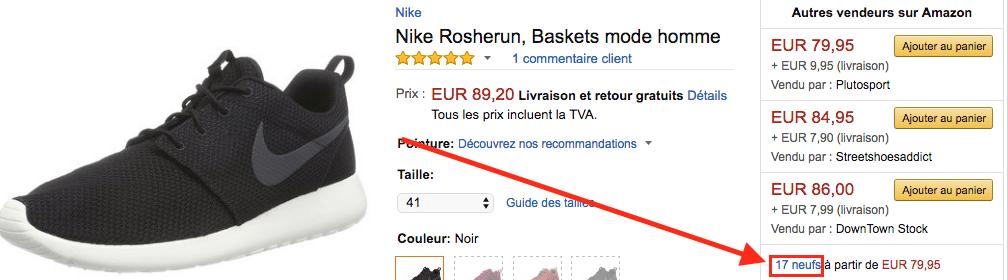 Amazon Nike Roshe neuf FR