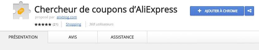 Chercheur de coupons d'AliExpress Chrome