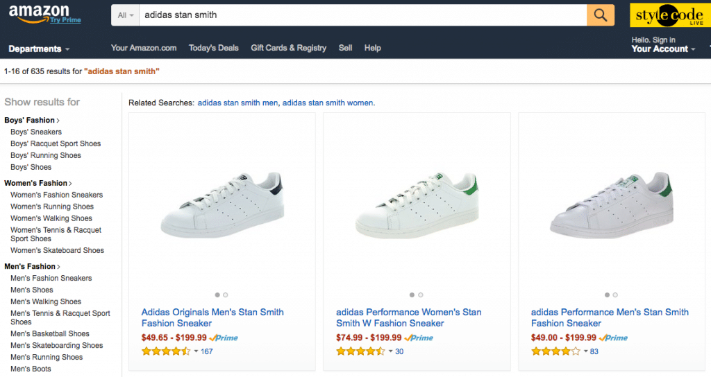 adidas stan smith amazon search