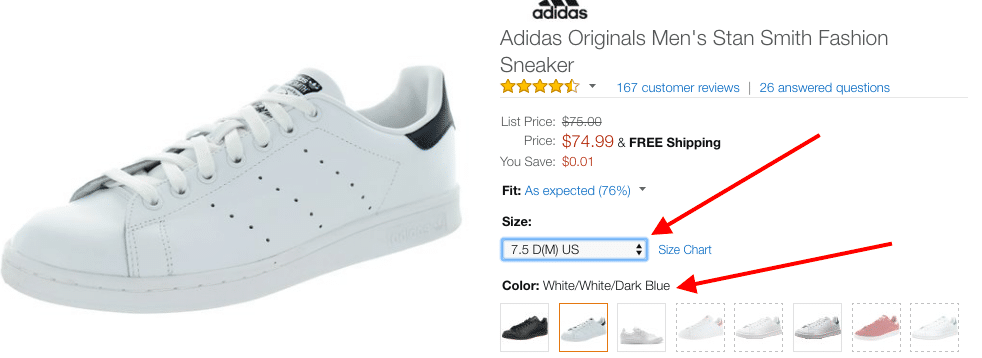 adidas stan smith amazon sizes