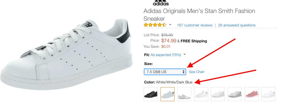 adidas stan smith amazon sizes