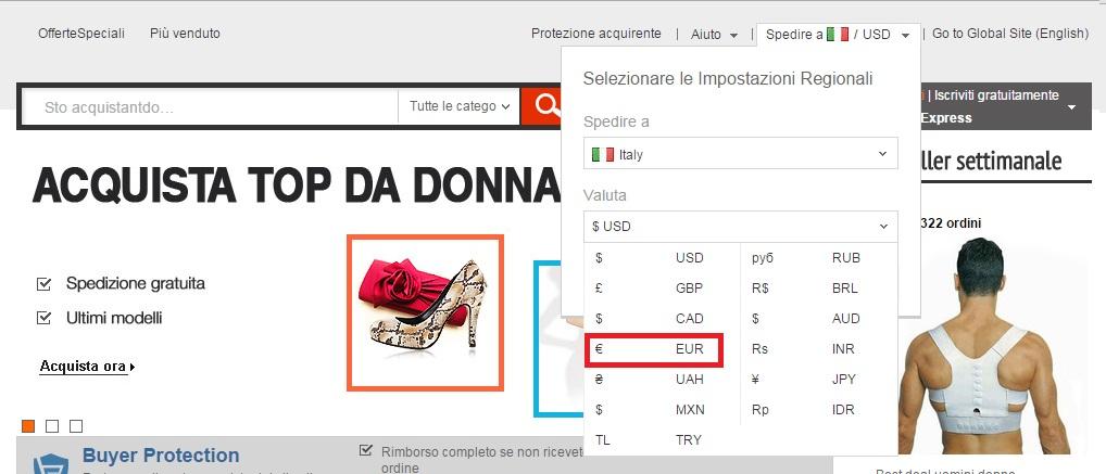 comprare in euro e in italiano su aliexpress