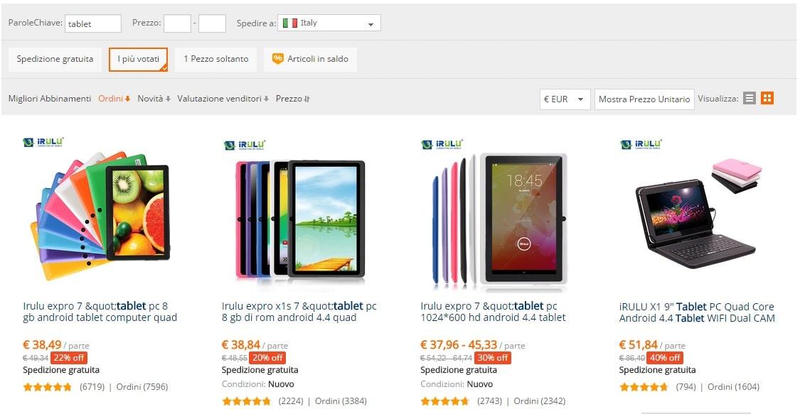venditori di tablet piu popolari su aliexpress