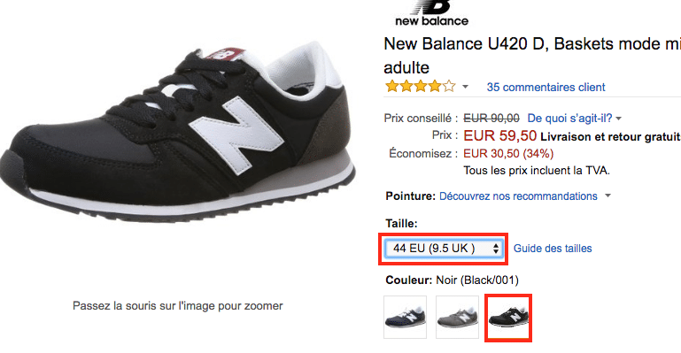 Amazon New Balance size and color FR