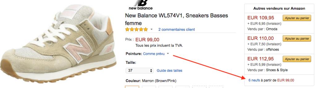 Amazon new balance neuf FR