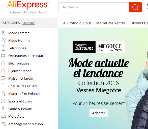 Categories Aliexpress Française