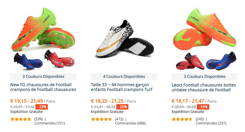 Chaussures futbol commandes fR