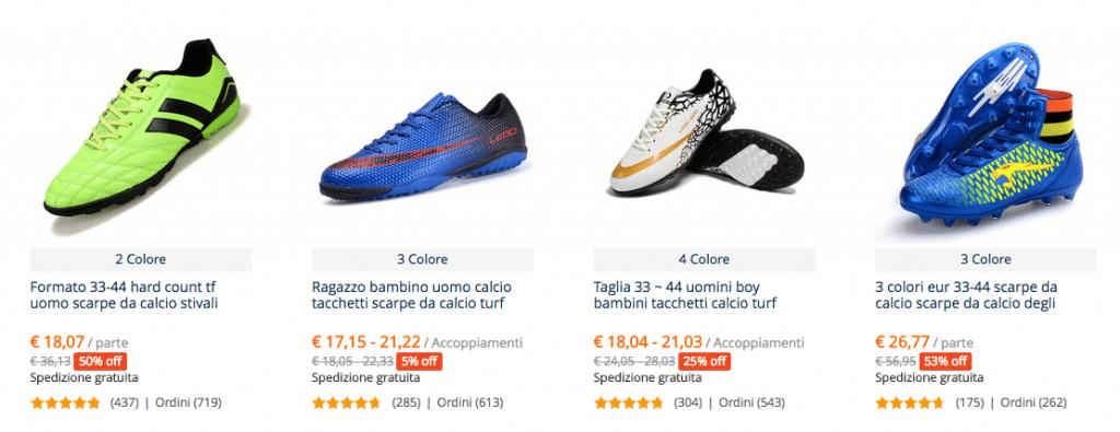 scarpe calcio ordini