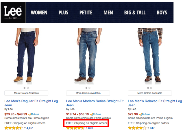 Amazon jeans free shipping