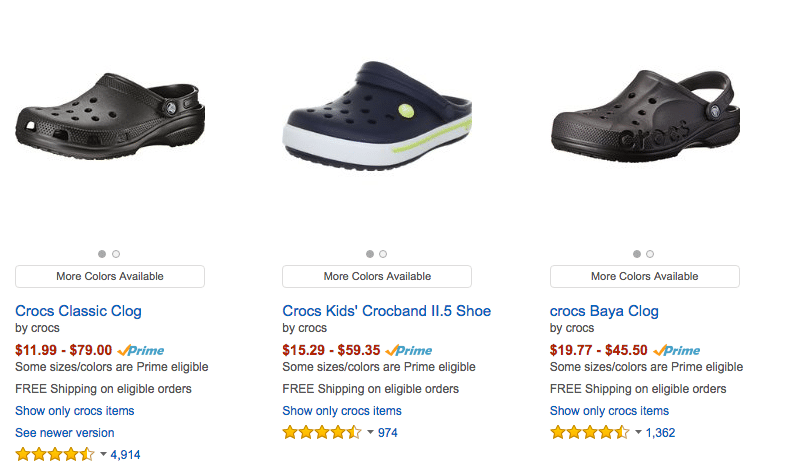 Crocs amazon ENG