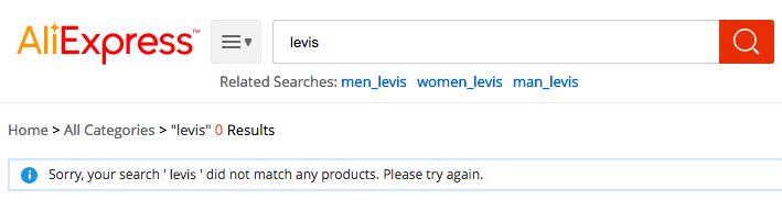 Levis no search results