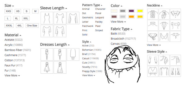 Search tabs clothing