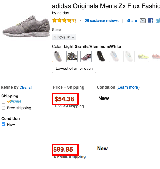 Amazon adidas price difference