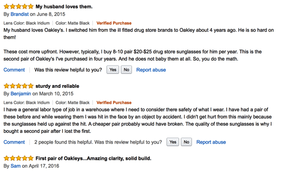 Amazon reviews Oakley sunglasses