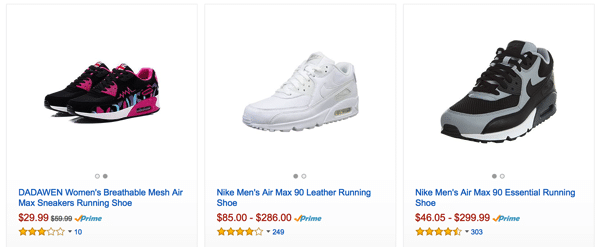 Buying Nike Air Max in Amazon