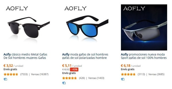 Aofly cheap sunglasses in AliExpress