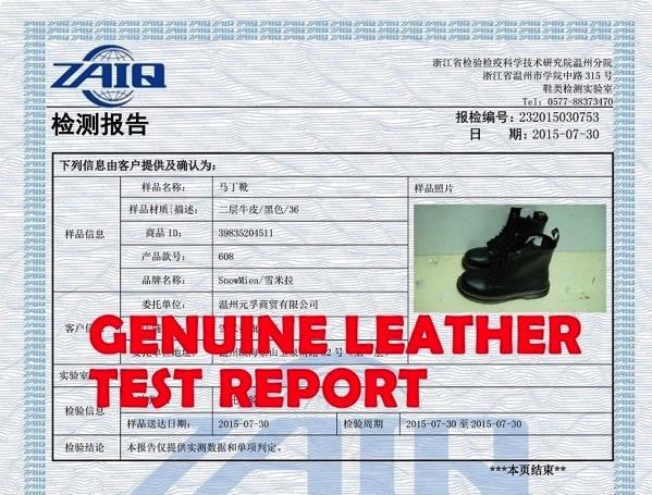 Certificado cuero autentico