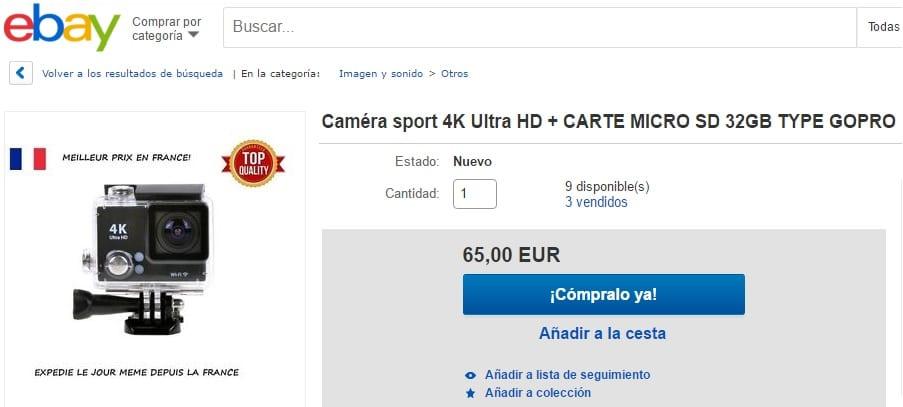 gopro barata en ebay tineda online