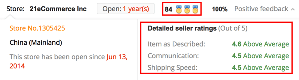 Seller reputation in aliexpress