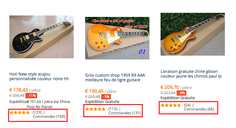 Guitares plus vendus FRA