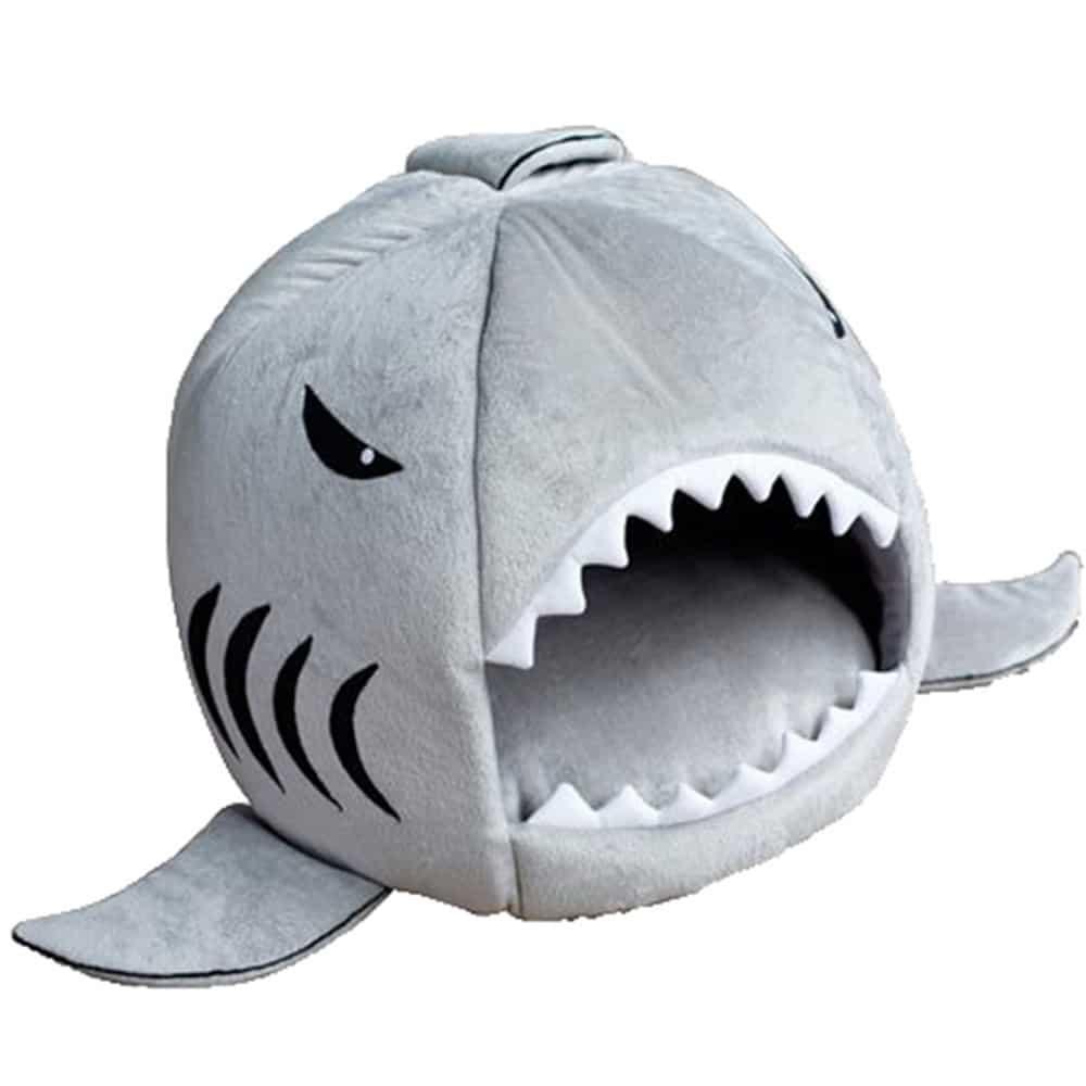 accesorios gato cama tiburon