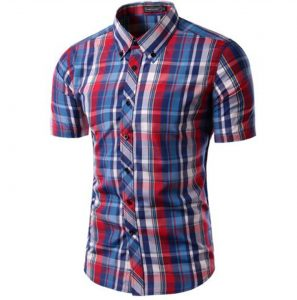 camisa-de-cuadros-algodon-manga-corta-aliexpress
