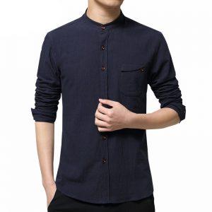 camisa-de-lino-azul-aliexpress