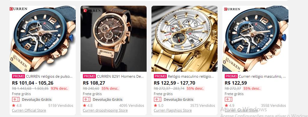 relógios curren aliexpress