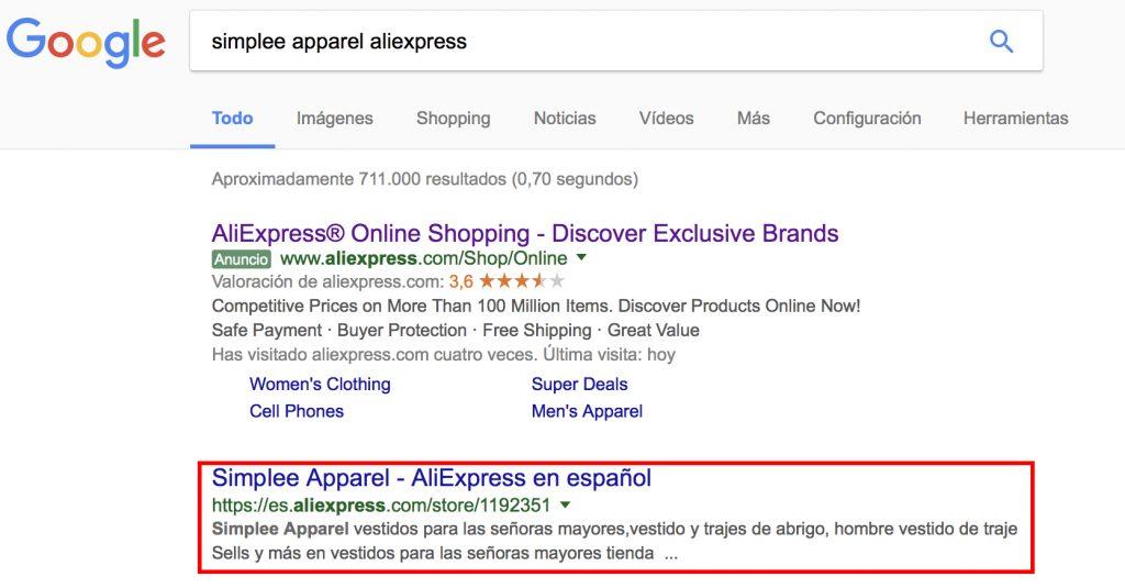 loja de roupa AliExpress