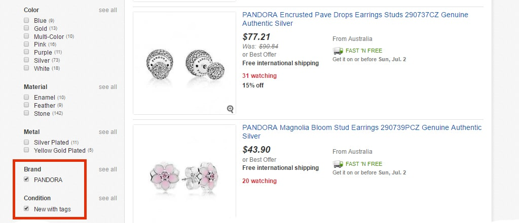 Pandora на eBay