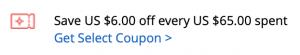 kupon aliesxpress 6$