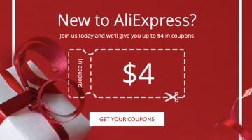New User Welcome Coupons: Save money on your first purchase in AliExpress (from 4$ to 100$)