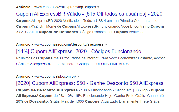 cupons google aliexpress
