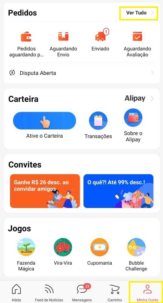 pedidos app aliexpress
