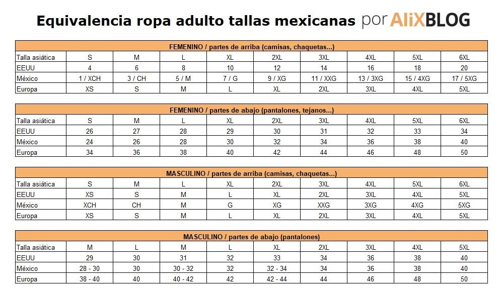 Equivalencias Tallas Chinas A Mexicanas Guia Aliexpress 2021
